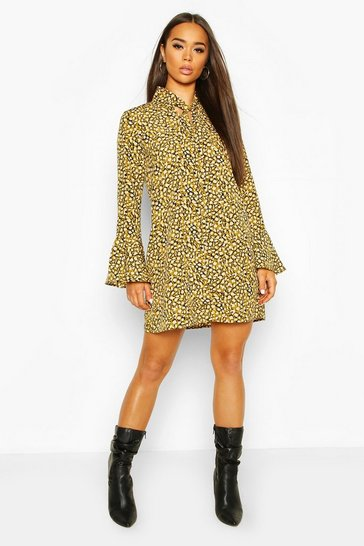 Lime Animal Print Pussy Bow Shift Dress