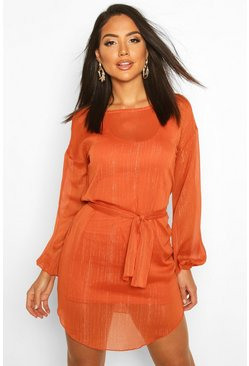 Womens Burnt orange Metallic Thread Belted Shift Dress
