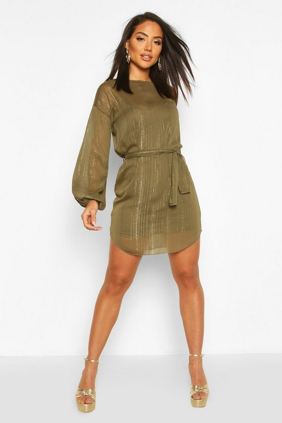 Womens Khaki Metallic Thread Belted Shift Dress