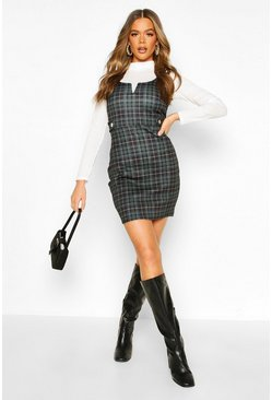 Womens Bottle green Check Button Detail V Bar Pinafore Dress