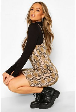 Womens Nude Snake Print Funnel Neck T-Shirt Slip Dress
