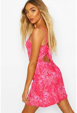 Pink Woven Paisley Print Square Neck Mini Dress