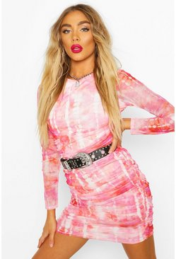 Pink Mesh Tie Dye Ruched Bodycon Mini Dress