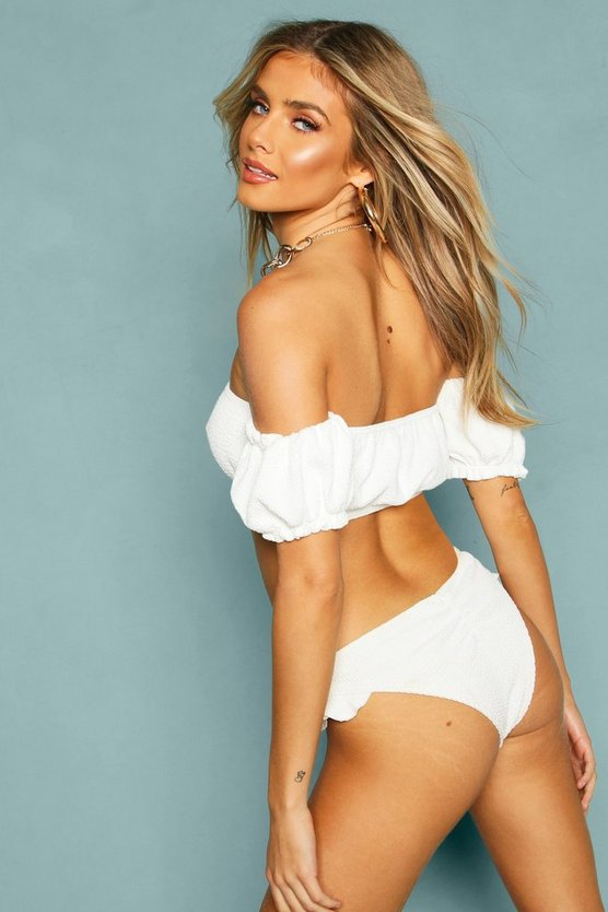 Crinkle Off The Shoulder Ruffle Bikini