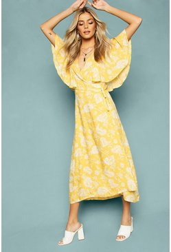 Yellow Floral Print Angel Sleeve Wrap Tea Dress
