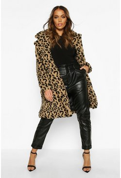 Womens Camel Leopard Printed Teddy Fur Coat
