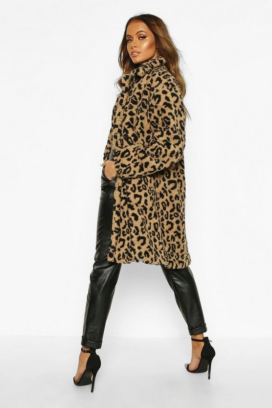 Leopard Printed Teddy Fur Coat