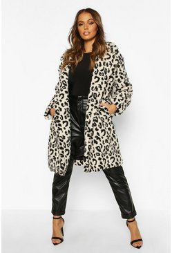 Womens Stone Leopard Printed Teddy Fur Coat