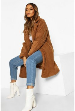 Womens Camel Premium Teddy Fur Coat