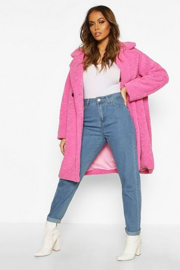 Womens Pink Premium Teddy Fur Coat