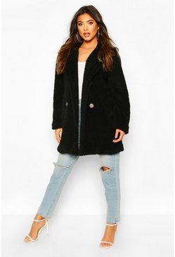 Womens Black Faux Fur Double Breasted Coat