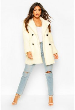 Faux Fur Double Breasted Coat, Cream