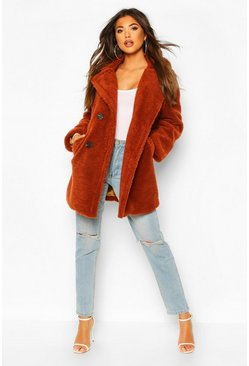 Womens Rust Faux Fur Double Breasted Coat