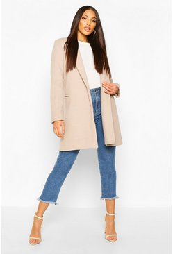 Stone Military Wool Look Coat