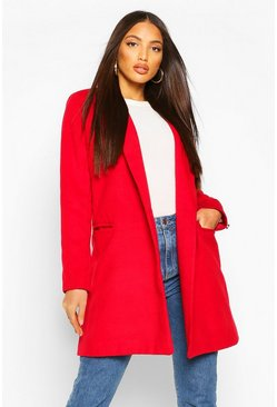 Military Wool Look Coat, Wine