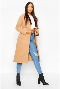 Longline Drop Shoulder Wool Look Coat, Camel