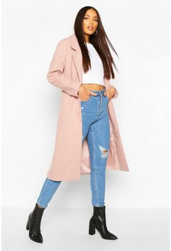 Longline Drop Shoulder Wool Look Coat, Dusky pink