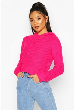 Hot pink Knitted Hooded Crop Sweater