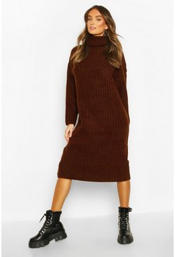 Roll Neck Rib Knitted Dress, Chocolate