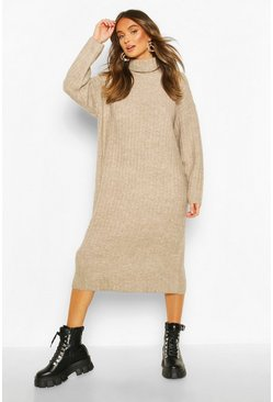 Womens Mink Roll Neck Rib Knitted Dress