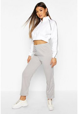 Womens Grey Rib Knit Jogger