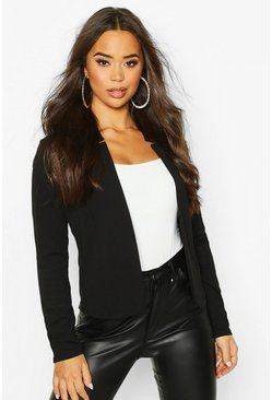 Notch Neck Blazer, Black