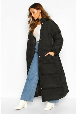 Black Funnel Neck Maxi Puffer Coat