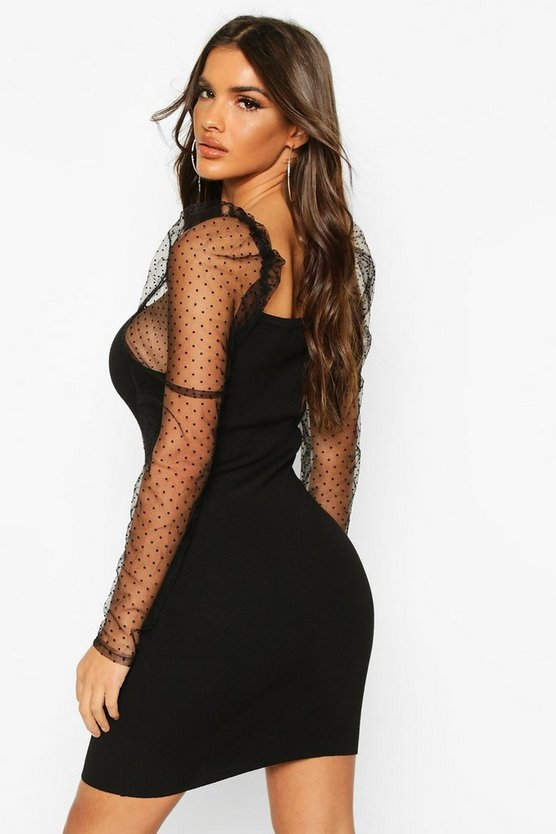 Polka Dot Mesh Puff Sleeve Jumper Dress