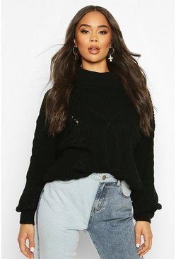 Roll Neck Cable Knit Oversized Jumper, Black, ЖЕНСКОЕ