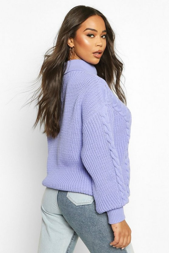 Roll Neck Cable Knit Oversized Jumper