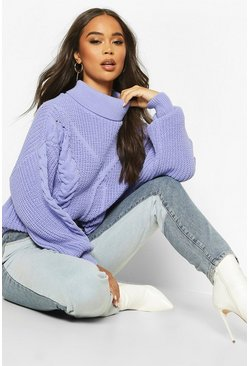 Roll Neck Cable Knit Oversized Jumper, Pink