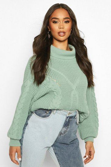 Womens Sage Roll Neck Cable Knit Oversized Jumper
