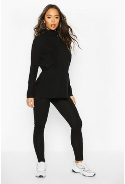 Rib Knit Roll Neck Side Split Set, Black