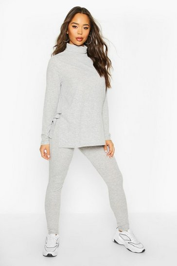 Womens Grey Rib Knit Roll Neck Side Split Set