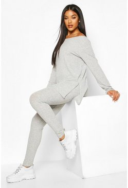 Grey Rib Knit Slash Neck Side Split Set