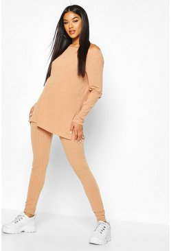 Stone Rib Knit Slash Neck Side Split Set