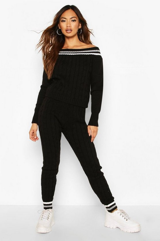 Black Knitted Sweater & Pants Co-Ord