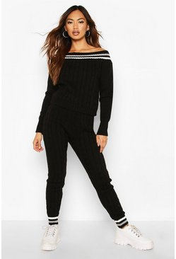 Womens Black Knitted Jumper & Trouser Co-ord