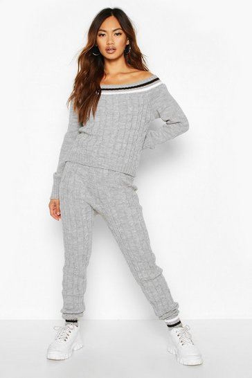 Womens Grey Knitted Jumper & Trouser Co-ord