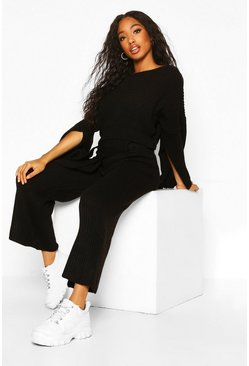 Womens Black Knitted Trouser & Jumper Co-ord