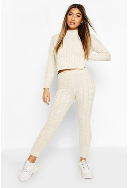 Cable Knit Lounge Set, Stone, FEMMES