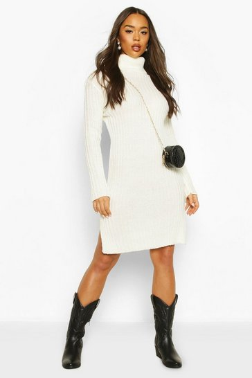 Womens Cream Knitted Polo Neck Side Slit Midi Dress