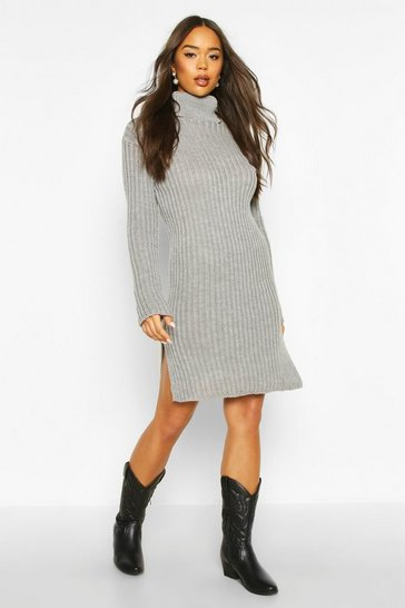 Grey Knitted Polo Neck Side Slit Midi Dress