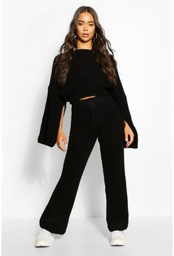 Black Chunky Rib Knit Wide Leg Lounge Set