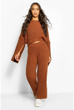 Rust Chunky Rib Knit Wide Leg Lounge Set