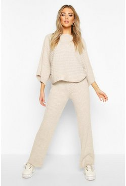Stone Rib Knit Batwing Lounge Set