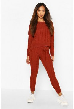 Cable Knit Crew Neck Lounge Set, Rust