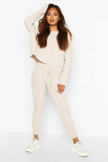 Stone Cable Knit Crew Neck Lounge Set