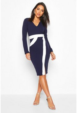 Contrast Midi Dress, Navy