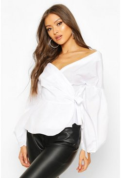 White Off The Shoulder Peplum Wrap Shirt